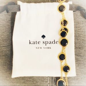 Kate Spade Black and Gold Long Crystal Necklace